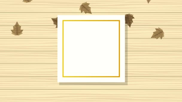 hello autumn animation with leafs in square frame