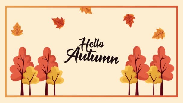 hello autumn animation lettering with forest scene