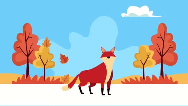 hello autumn animation with wild fox in forest landscape scene