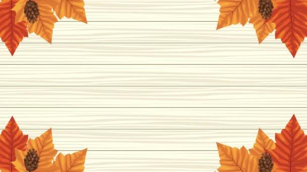 hello őszi animáció levelekkel keret