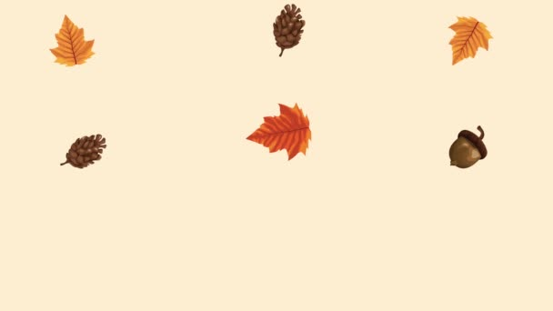 hello autumn animation with leafs pattern