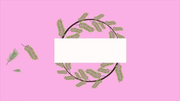tropische Exoten blättern Ökologie Animation Kranz in rosa Hintergrund