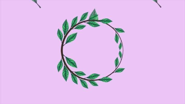 trópusi egzotikumok levelek ökológia animáció koszorú korona lila háttér