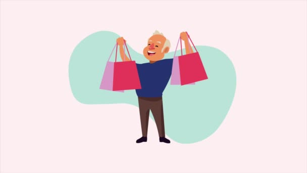idős férfi bevásárló táskák animációs karakter