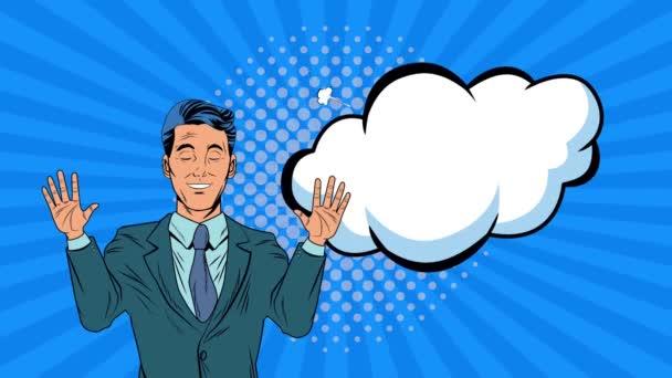 Geschäftsmann mit Ausdruck Bubble Pop Art Animation