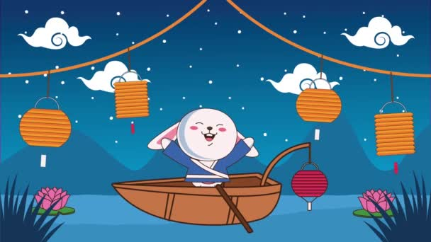 mid autumn festival animation with rabbit in boat and lamps hanging