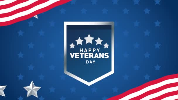 happy veterans day lettering animation with shield and stars