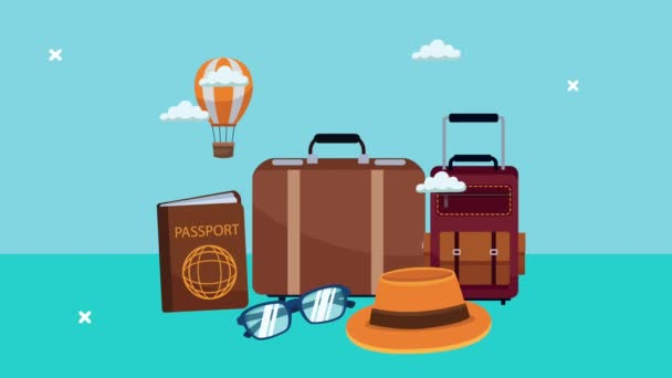 Welttourismus-Animation mit Set-Ikonen und Luftballons