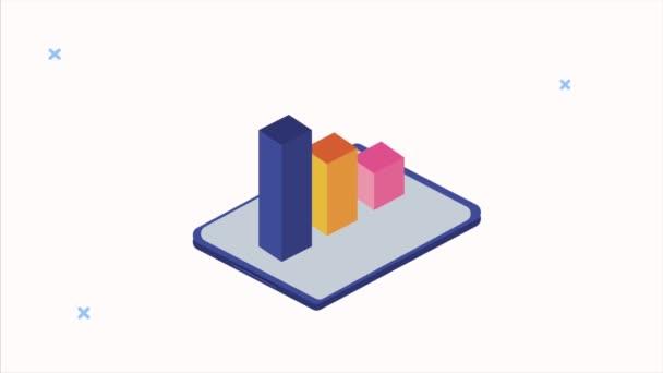 animace analýzy datového serveru se statistickými pruhy v tabletu