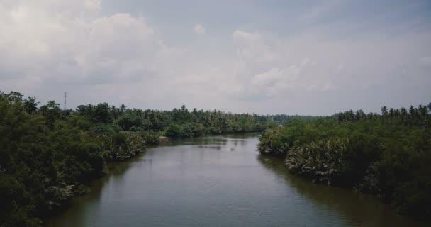 Letecký pohled na krásné scenérie široká řeka, která teče v džungli s tropickým zelené keře. Parkovistě divočiny