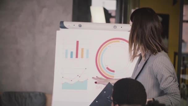 Úspěšné ženy obchodní trenér vysvětlující údaje na flipchart mnohonárodnostní tým ve společnosti seminář sezení s procvičováním