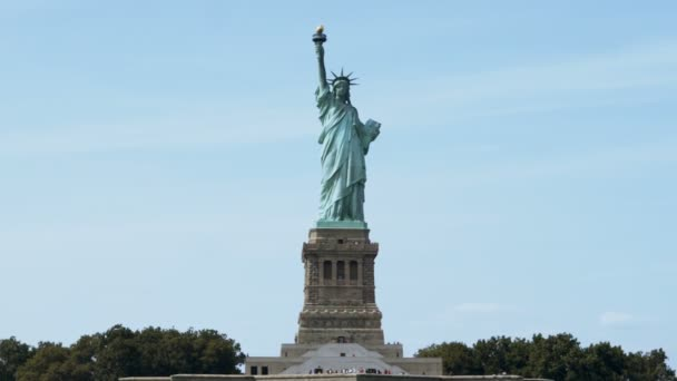 Panoramic view of world famous Statue of Liberty landmark and national monument in New York USA, view from the water.