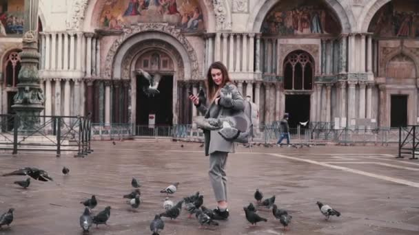 Pigeon sits on arm of beautiful female tourist with smartphone near San Marco cathedral in Venice, Italy slow motion.