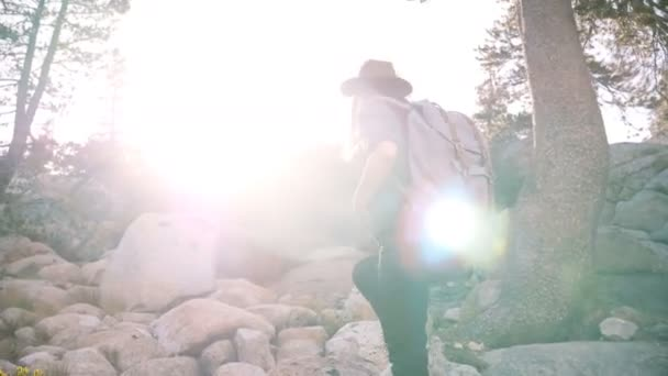 Young beautiful local girl with backpack and camera hiking alone, climbing big rocks at Yosemite forest slow motion.