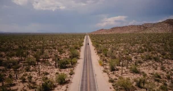 Drone előre repülő felett szép sivatagi út, az autók nagy légköri kaktusz mezőjében Arizona nemzeti park, Amerikai Egyesült Államok.