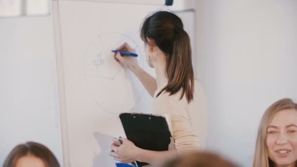 Back view young female office assistant drawing diagram circle on flipchart at business team meeting, modern workplace.