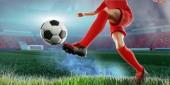 a foci koncepció játékos rúgja focilabdát 3D-s illusztráció