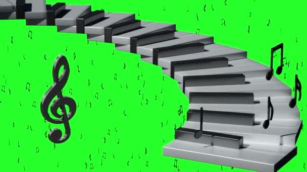 hudbu na pozadí hudební klíč a poznámky k vykreslení 3d na zeleném pozadí