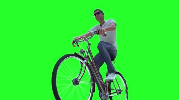 Muž na kole 3d vykreslení na zeleném pozadí
