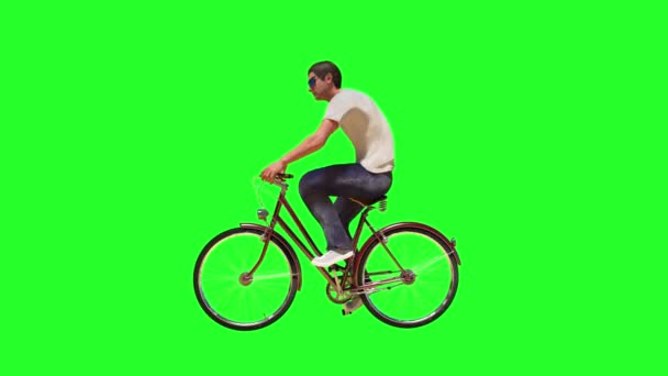 a man on a Bicycle 3D render on green background