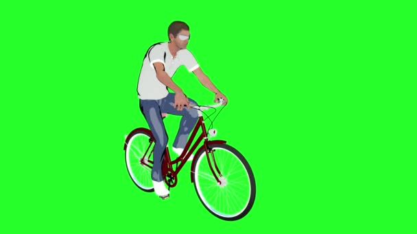 cartoon a man on a Bicycle on green background