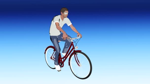 cartoon a man on a Bicycle
