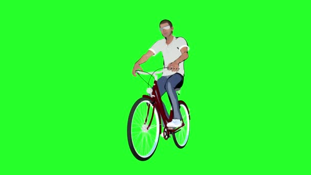 karikatura člověka na kole na zeleném pozadí