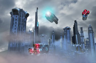 3D Illustration of Fantastic Environments futuristic fantastic city of the future