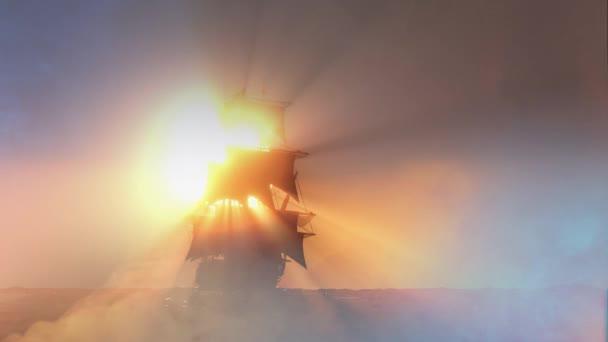 pirátská loď plující na moři, 3d vykreslení