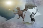 Fotografie rytíř bojový drak, drak versus muž 3d vykreslení