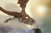 egy lovag harci sárkány, sárkány vs ember 3d render