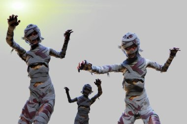 mummy on Halloween night background 3D render