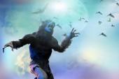 Fotografie vlkodlak na Halloween na pozadí 3d vykreslení