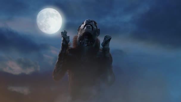 vlkodlak na Halloween na pozadí 3d vykreslení