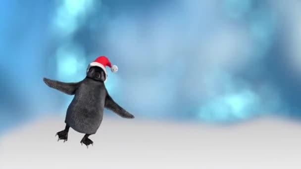 rajzfilm pingvineket táncolni öltözött karácsonyi kalapok