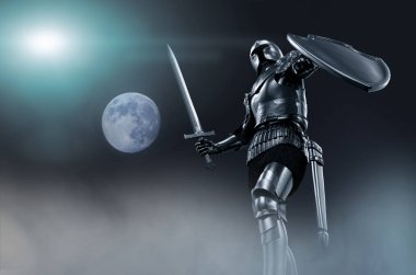 knight in armor with sword in hand 3D render