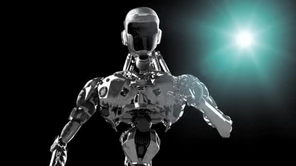 Systémem cyborg, běžící robot vykreslení 3d