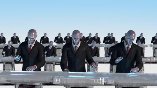 3D rendering humanoid robotok dolgozik