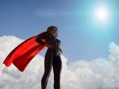 Fotografia donna in costume del supereroe 3d rende