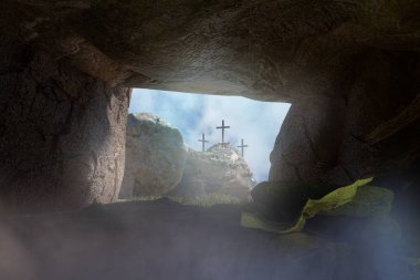Empty Tomb of Jesus Christ 3d render