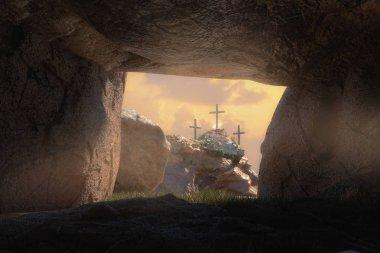 Empty Tomb of Jesus Christ 3d render