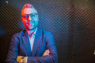 modern businessman portrait  with neon light