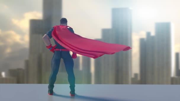 Szuperhős figyeli a várost 3d render animáció