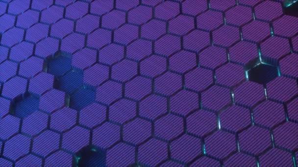 Abstrakter Hintergrund mit leuchtenden Sechsecken. Futuristische Technologie Wabenmosaik. 3D-Darstellung