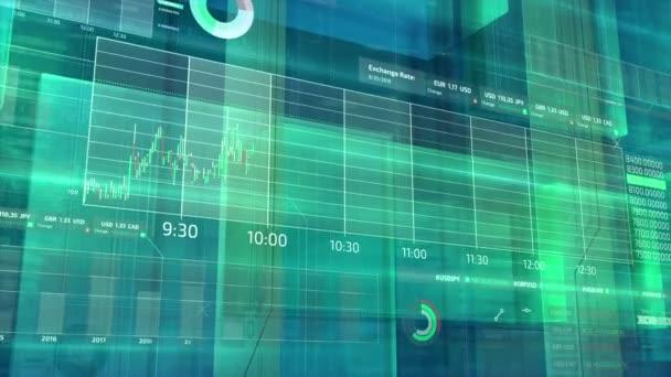 A téma a tőzsdei kereskedési, árfolyamok és a globális piac infographics animált háromdimenziós virtuális térben.