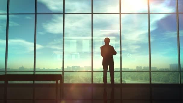 Silueta obchodníka v kanceláři před infografika