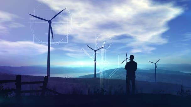 Environmentální infografie na pozadí větrných turbín.