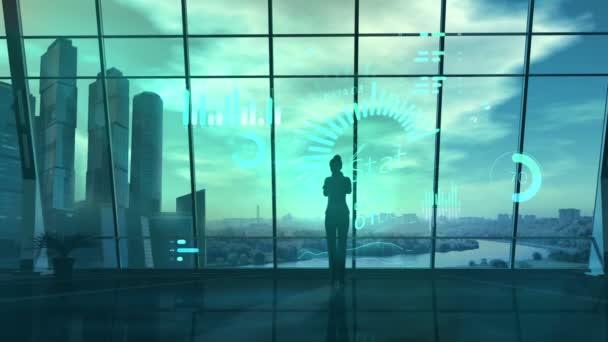 Business woman in office elemzi az adatokat a virtuális valóság.