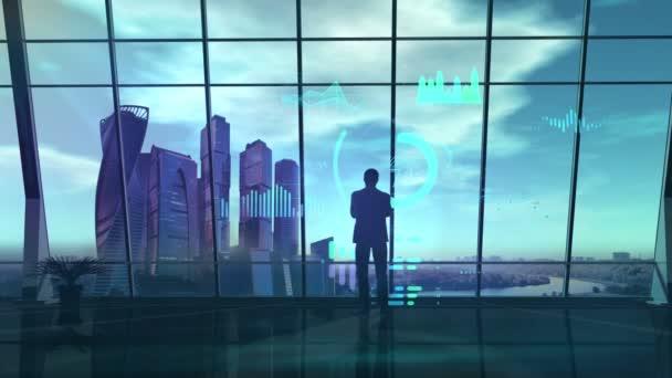 männliche Silhouette im Büro gegenüber virtueller Infografik.