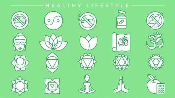 Stilsymbole für gesunde Lebensstilkonzepte gesetzt.